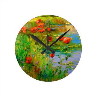 Horloge Ronde Pavots par l'étang