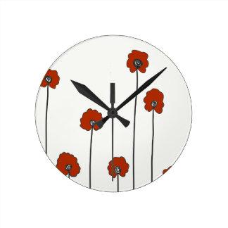 Horloge Ronde pavots rouges