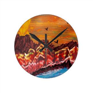 Horloge Ronde Paysage du volcan de tabagisme