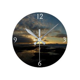 Horloge Ronde Paysage marin du coucher du soleil III la