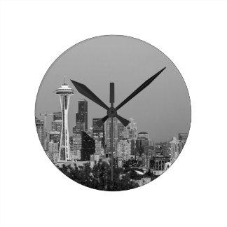 Horloge Ronde Paysage urbain noir et blanc de Seattle