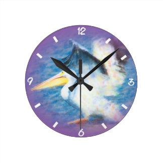 Horloge Ronde pélican 17 d'aquarelle