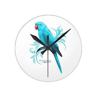 Horloge Ronde Perroquet bleu de Ringneck d'Indien