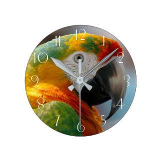 Horloge Ronde Perroquet d'ara