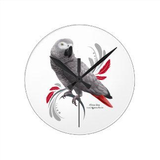 Horloge Ronde Perroquet de gris africain