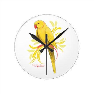 Horloge Ronde Perroquet jaune de Ringneck d'Indien