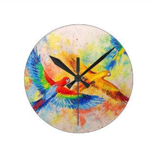 Horloge Ronde Perroquets en vol