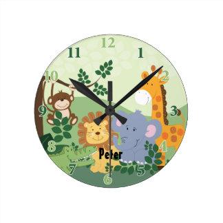Horloge ronde personnalisable de safari de jungle