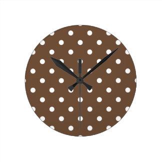 Horloge Ronde Petit pois - blanc sur le café