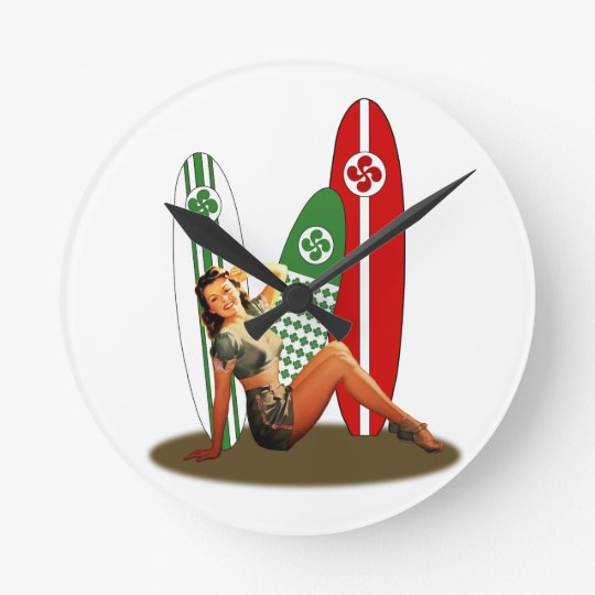 Horloge Ronde Pin-up Basque France