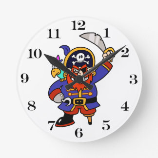 Horloge Ronde Pirate de bande dessinée avec la jambe et l'épée