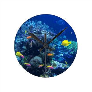 Horloge Ronde Poissons sous-marins tropicaux