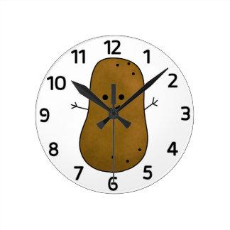 Horloge Ronde Pomme de terre heureuse mignonne