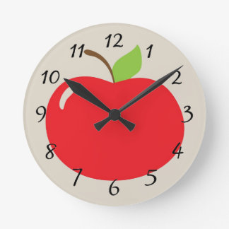 Horloge Ronde Pomme rouge Animated