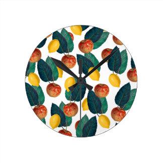 Horloge Ronde Pommes et citrons