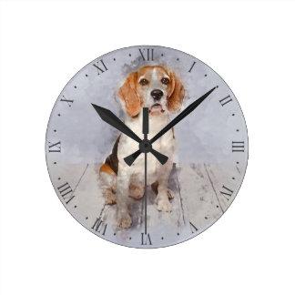 Horloge Ronde Portrait mignon d'aquarelle de beagle