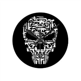 Horloge Ronde Produits de crâne et d'armes à feu et de couteaux