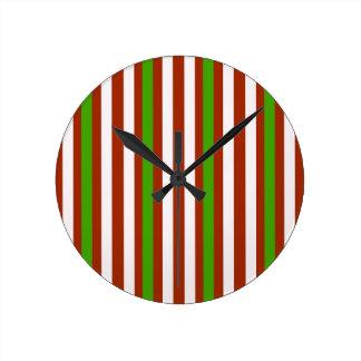 Horloge Ronde Rayure blanche rouge verte