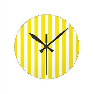 Horloge Ronde Rayures jaunes verticales