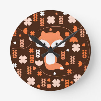 Horloge Ronde Renard, fleurs et feuille mignons dans l'orange