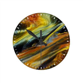 Horloge Ronde Résumé coloré de Pietersite
