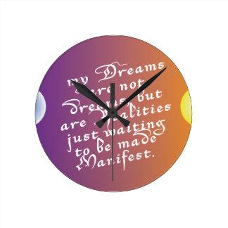 Horloge Ronde Rêves à l'horloge de citation de réalités