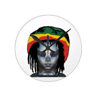 Horloge Ronde Robotique Rastafarian