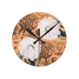 Horloge Ronde Romantique orange de pivoine blanche