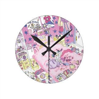Horloge Ronde Rose drôle de chambre à coucher d'adolescente de