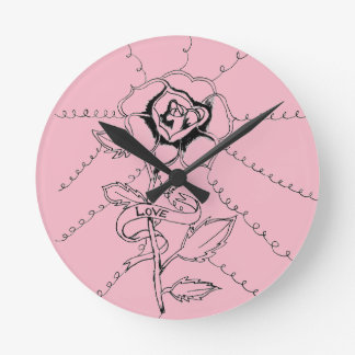 Horloge Ronde Rose rose de fleur d'horloge