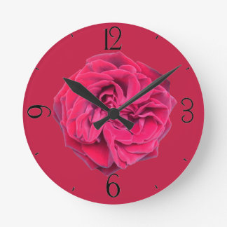 Horloge Ronde Rose rouge