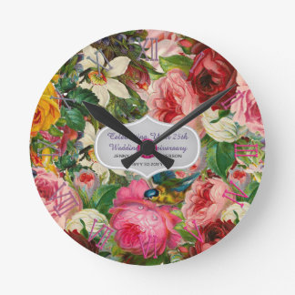 Horloge Ronde ROSES vintages d'anniversaire de mariage -