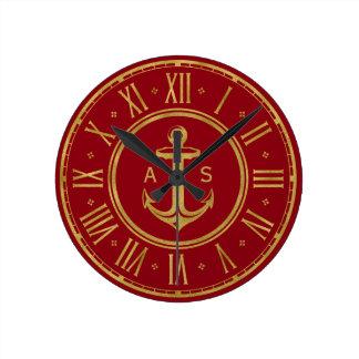 Horloge Ronde Rouge nautique d'or classique de l'ancre |