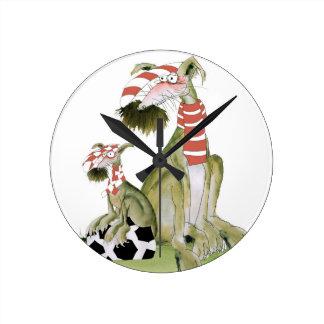 Horloge Ronde rouges du football, tel père, tel fils