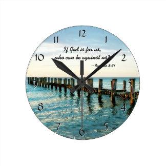 Horloge Ronde Si Dieu est pour nous qui peuvent être contre nous
