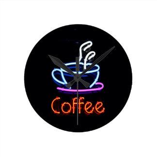 Horloge Ronde Signe au néon de café