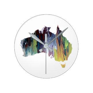 Horloge Ronde Silhouette colorée de l'australie