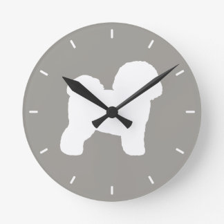 Horloge Ronde Silhouette de Bichon Frise