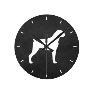 Horloge Ronde Silhouette de chien de boxeur