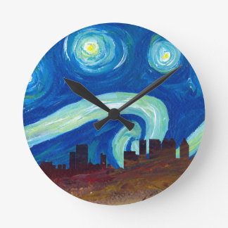 Horloge Ronde Silhouette d'horizon d'Atlanta avec la nuit