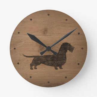 Horloge Ronde Silhouette d'une chevelure de teckel de fil