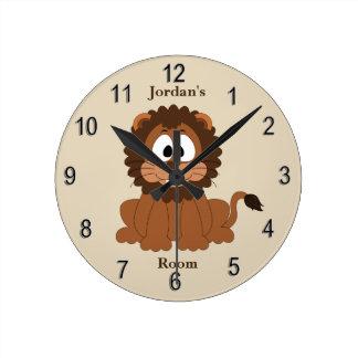 Horloge Ronde Sourire mignon de lion de bébé de l'horloge de