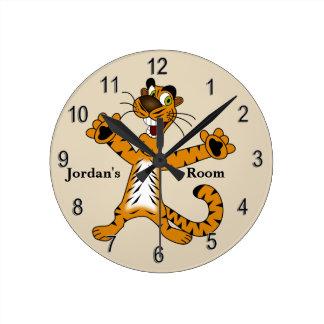 Horloge Ronde Sourire mignon de tigre de l'horloge de l'enfant