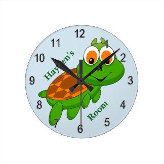 Horloge Ronde Sourire mignon de tortue de bébé de l'horloge de