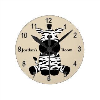Horloge Ronde Sourire mignon de zèbre de bébé de l'horloge de