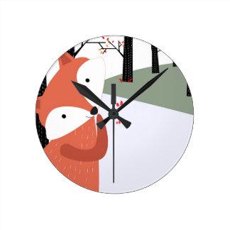 Horloge Ronde Sourire mignon vintage de loup de renard de bébé
