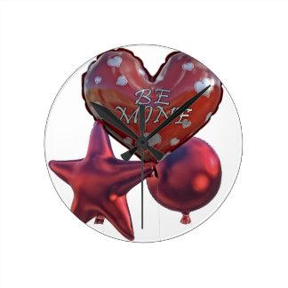 Horloge Ronde Soyez des Valentines de mine saluant des ballons
