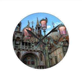 Horloge Ronde St Marques et lampe, Venise, Italie