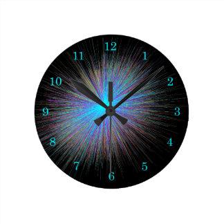 Horloge Ronde Starburst bleu rayonnant