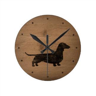 Horloge Ronde Style rustique de silhouette de teckel